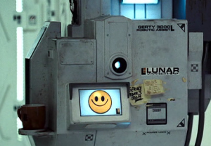 """The smiling face icon of AI computer """"Gerty"""" from the movie Moon (2009)"""