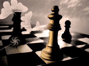 artified chess board image, looking gloomy