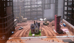 Scene from Disney movie Up: old man Carl's house surrounding by cranes constructing high rises