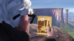 Scene from Disney movie Up: the old man compares his old postcard to the real Paradise Falls