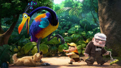 Scene from the Disney movie Up: dug hold's on the Kevin the birds leg, begging him to be dug's prisoner
