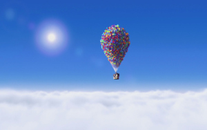 Scene from Disney movie up: balloon-driven house flies away