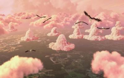 Scene from Disney movie Up (bonus extra): pink clouds