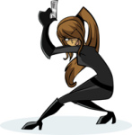 clipart spy lady with gun