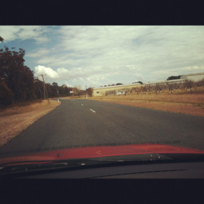 Australian road from front window of car