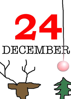 Christmas cartoon with text 24 December, a reindeer head seen from the back