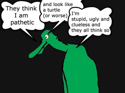 depressed turtle with social anxiety - cartoon
