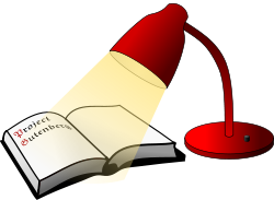 clipart of read night lamp and book