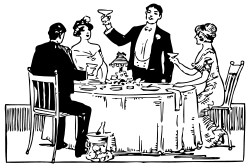 old clipart of dinner party around a table, to pairs, man raising to toast, black and white drawing