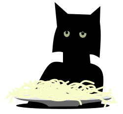 clipart of depressed black cat sitting at a table with a portion of spaghetti