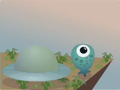 clipart - alien standing next to spaceship on cliff with weird plants