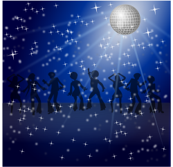clipart of disco dancers with a disco ball and glitter, blue colours