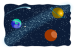 clipart drawing with 3 planets