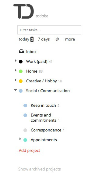 Print screen: social folders. Todoist anno September 2013