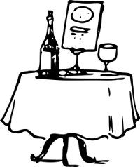Clipart: dinner table in restaurant with a bottle of red wine and a glass on