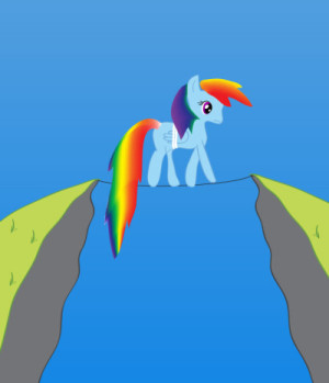 Cartoon blue pony with rainbow mane and tail walks a tightrope between cliffs