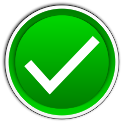 Green tick button (clipart)