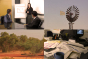 Collage of 4 blurry photos: a presentation y a lady in an office, a remote windmill, a red Australian landscape, and a messy office desks with piles of paper