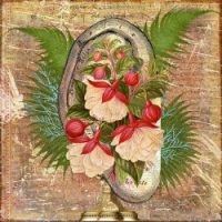 "Art: digital collage of ear decorated by flowers, created by Lori of the blog ""A Quiet Week in the House"""